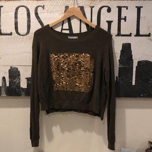 Zara Knit sz M Army Green Viscose Sequin Sweater